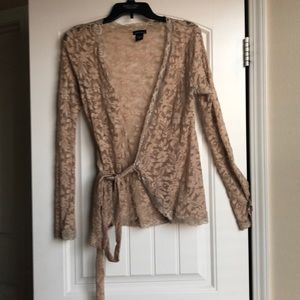 Beige lace wrap blouse